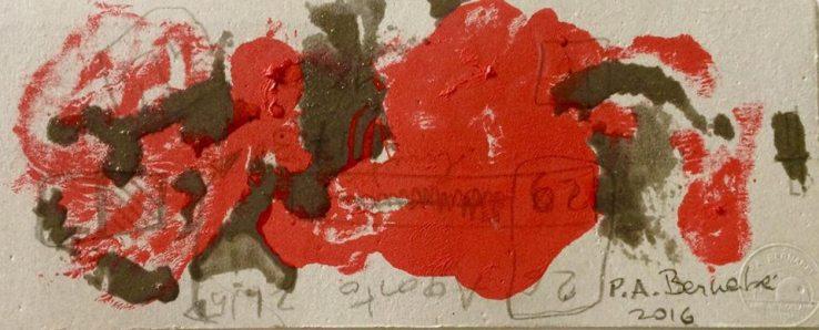 Senza titolo, 2016. Monotipo (acrilico e resina) su cartoncino.